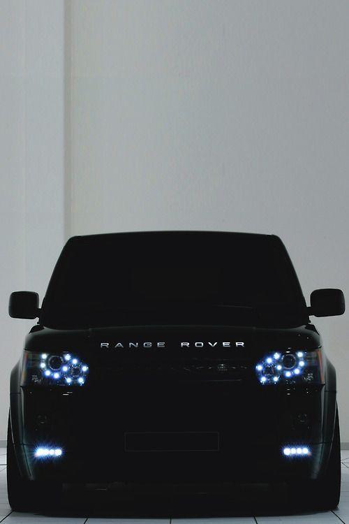 Luxury. Car. SUV. Black & Blue. City. Street. Range Rover. Industrial. Design. Robust. Headlights. Safe.