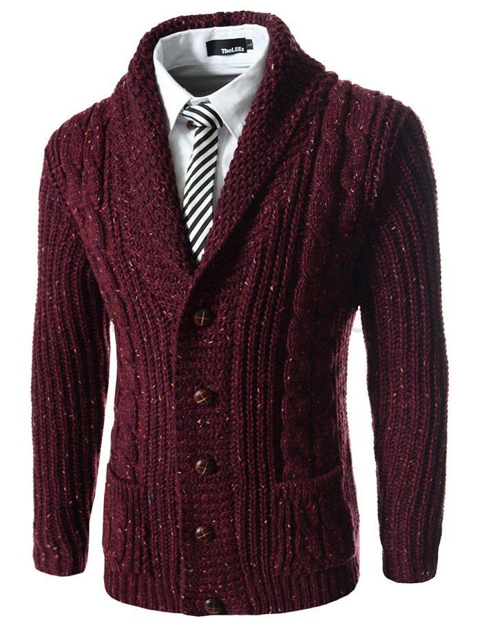 (FFC17-WINE) Slim Fit Shawl Collar 5 Button Knitted Cardigan