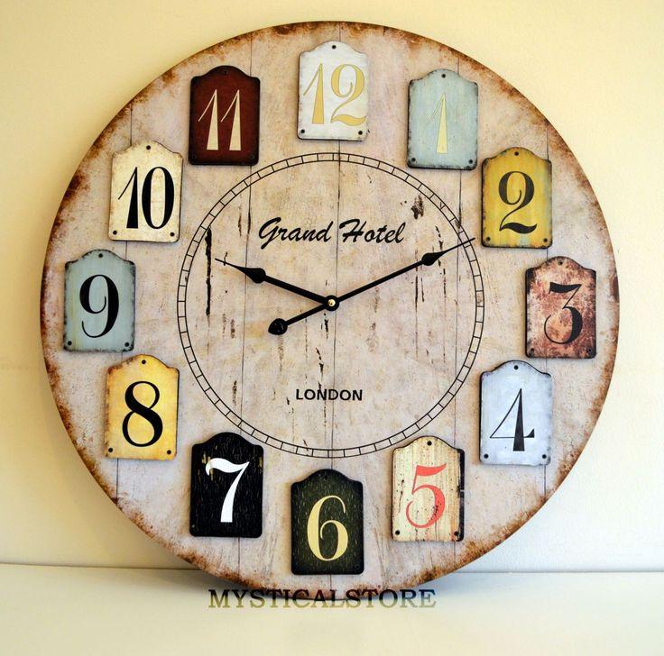 60cm X Large London Wood Wall Clock Vintage Retro Antique Shabby Chic Distressed