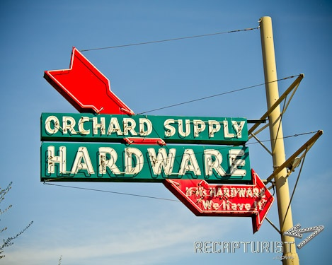 Orchard Supply Hardware (San Jose, CA).  Vintage sign photography by Recapturist. Purchase as a print or canvas. Many sizes available. http://www.recapturist.com/portfolio/orchard-supply-hardware/