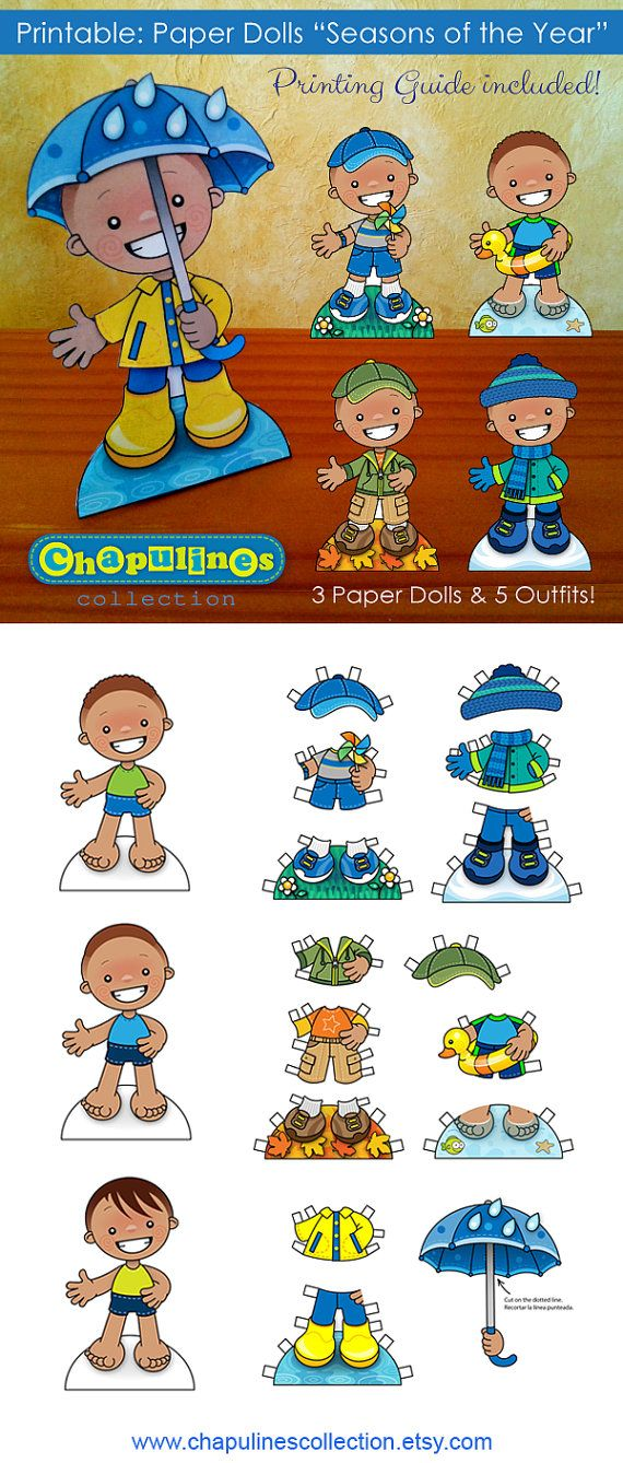 Paper Dolls - Printable - Seasons of the Year - Boys - Full Color - Set 024