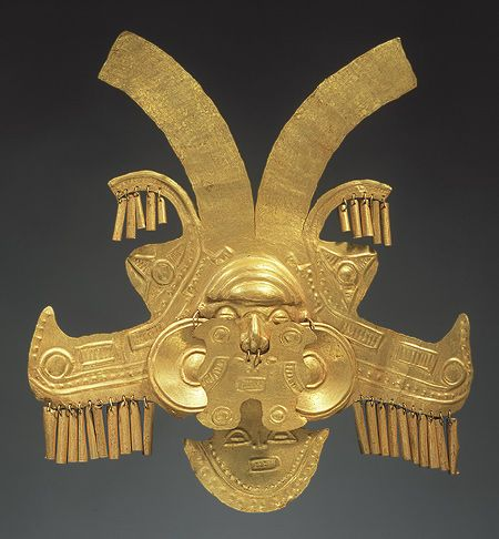 Headdress frontal, 1st–7th century  Colombia; Yotoco Gold