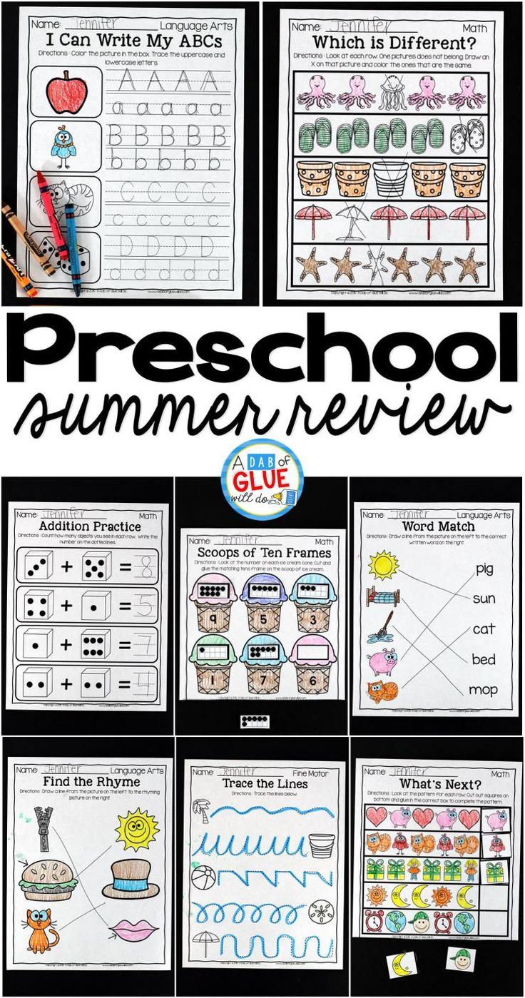 The perfect NO PREP Preschool (Pre-K) Summer Review to help your Preschool (Pre-K) students with hands-on learning over summer break! Give your students going into Kindergarten fun review printables to help prevent the summer slide and set them up for Kindergarten success. This kindergarten prep packet is also perfect for a back to school refresher that will have your students ready for the new school year in no time.  This review is packed full of engaging homework review activities.