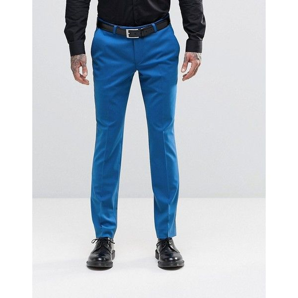 Noose & Monkey Super Skinny Suit Pants with Stretch ($37) ❤ liked on Polyvore featuring men's fashion, men's clothing, men's pants, men's dress pants, blue, mens blue dress pants, mens skinny dress pants, mens skinny suit pants, mens blue pants and mens skinny fit dress pants