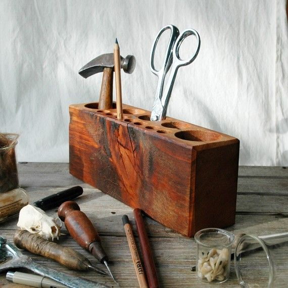 $65 Reclaimed Wood Desk Caddy