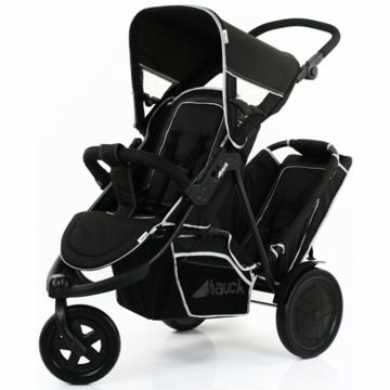 Seriously the only double jogging stroller I've seen that's not obnoxiously huge, but I've never heard of the brand.