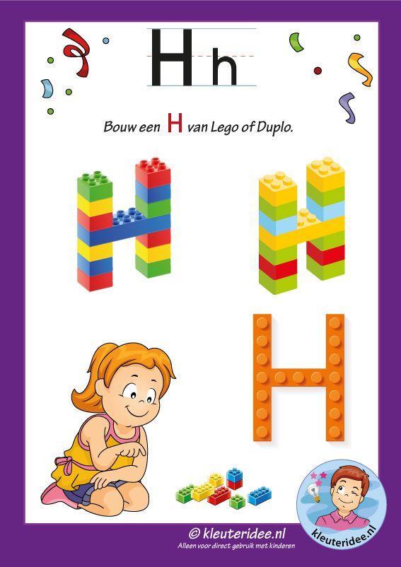 Pakket over de letter h blad 16, maak een H van lego of duplo, kleuteridee, free printable.