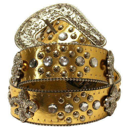 Gold Fleur Di Lis Rhinestone Western Bling Belt - List price: $31.00 Price: $22.99
