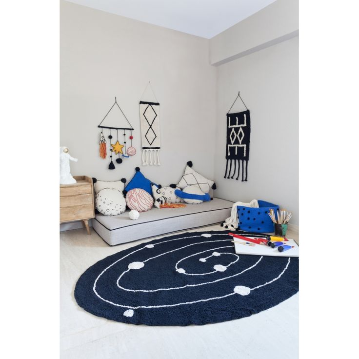 Milky Way Carpet for children's rooms: delicate and soft touch texture May be cleaned in a washing machine! 100% natural cotton, handmade Non-toxic dyes, manufactured under ISO and AITEX standards