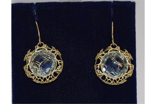 High value gold marked 999 Aquamarine filigree earrings