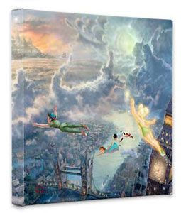 Peter Pan - Tinker Bell and Peter Pan Fly to Neverland - Gallery Wrapped - Thomas Kinkade - World-Wide-Art.com - $79.00 #Disney #Kinkade