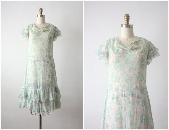20s dress / 1920s mint blooms dress by 1919vintage on Etsy