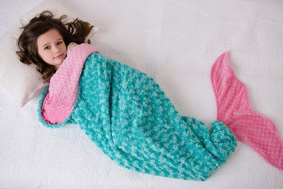 Mermaid Tail- Mermaid Tail Blanket- Minky Mermaid Blanket- Mermaid Sleep Sack- Teal Pink Aqua Bedding- Ships out in 1-3 Days