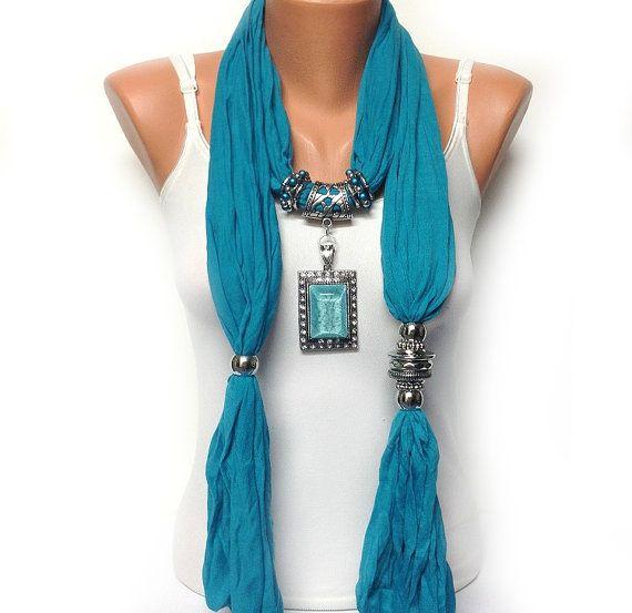 Turquoise jewelry scarf soft solid color wrinkle por BienBijou