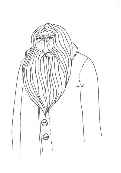 Great big bearded man.  Marie Glahn  #Beard #Illustration #Drawing