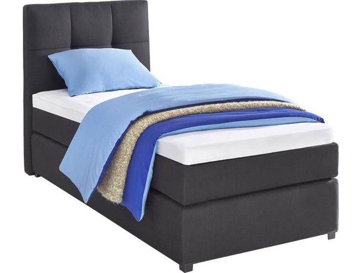 Boxspringbett Schwarz 90x200 Cm Strukturstoff H2 Hartegrad 2 Bed Home Decor Furniture