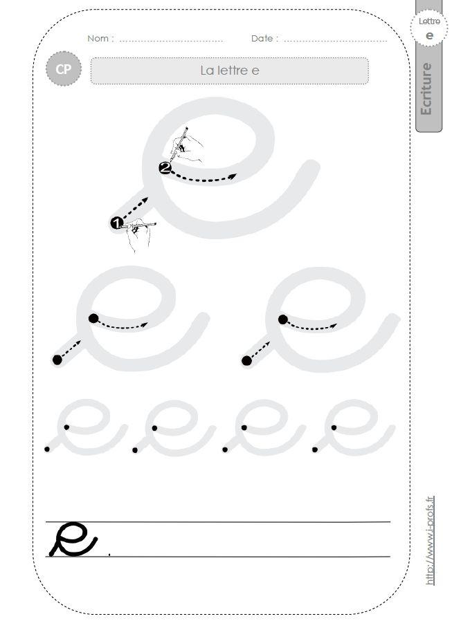 la lettre e au CP:FICHES d'ECRITURE. Modèles d'écriture