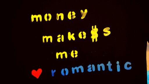 hand painted t shirt . money makes me romantic