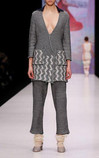 Crushed Denim Imitation Knit Jacket by KSENIASERAYA for Preorder on Moda Operandi