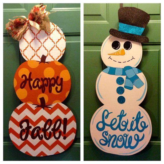 Reversible Stacked Pumpkin and Snowman Door by MyBelovedReclaimed