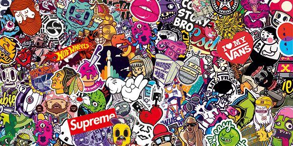 Pegatina Sticker Bomb para decorar tablas de surf o skate. Disponibles varios modelos y tamaños de adhesivos #stickerbomb #pegatina #skate