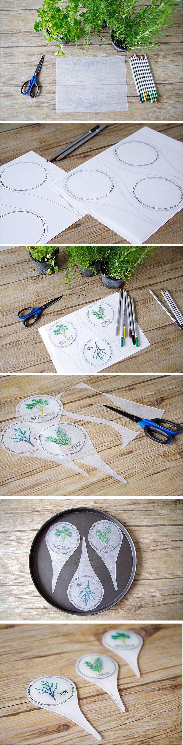 {DIY} Des jolis porte nom pour mes plantes Aromatiques - http://www.atelierfeteunique.com/