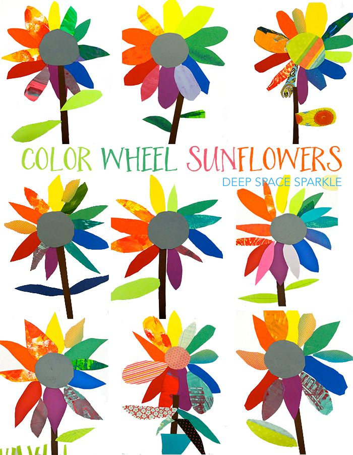 Color wheel art project: paper sunflowers Kinder art project