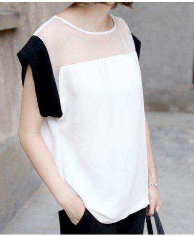 Moulded Semi-Sheer Color Block Shirt