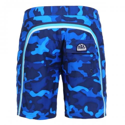 CAMOUFLAGE LONG SWIM SHORTS WITH RAINBOW BANDS - Low rise camouflage print polyester boardshorts with the three classic rainbow bands on the back, fixed waist with adjustable drawstring and Velcro fly, internal mesh, a Velcro back pocket, Sundek logo on the back. #sundek #beachwear #beach #sales #mrbeachwear #boardshort #men #summer #sun  #fashion #springsummer2014 #summer2014 #camouflage