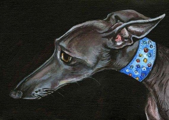Worryingly  Italian Greyhound Art Dog Print by AlmostAnAngel66, £15.00