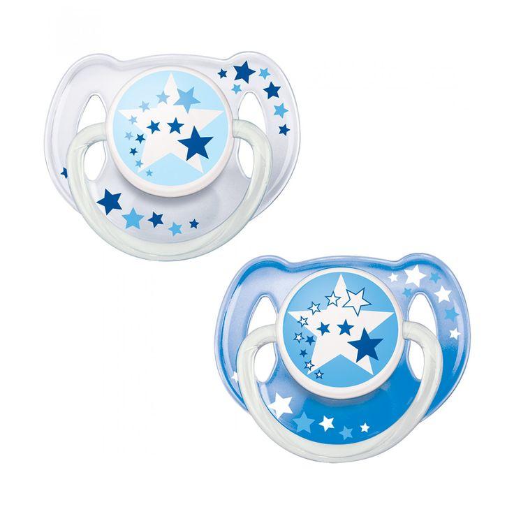 Set Avent de Dos chupones nocturnos que brillan en la obscuridad con tetina de silicona anatómica anillo de seguridad y cápsula protectora; se pueden esterilizar y son aptos para lavavajillas.