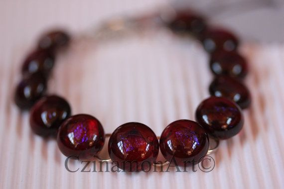 ClaretBurgundy Transparent Dichroic Fused Glass by CzinamonArt, €25.00