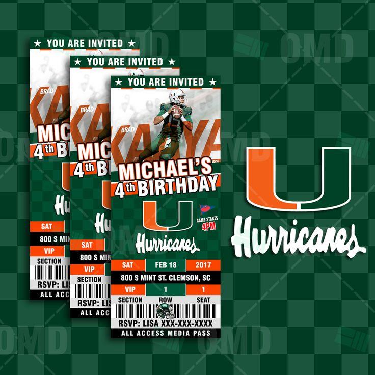 Miami Hurricanes Ticket Style Sports Party Invitations #sportsinvites