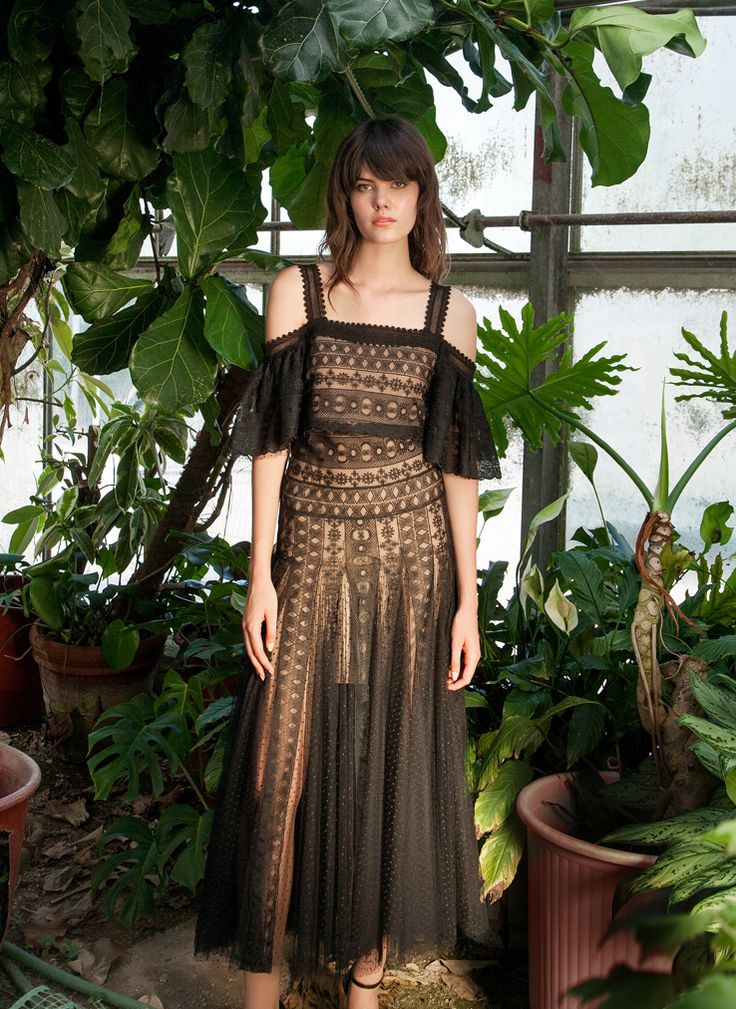 Resort 1745 Top Off-The-Shoulder Guipure Lace Cropped Top, Nude Lining, Black Resort 1745 Skirt Tea-Length Guipure Lace Skirt, Nude Lining, Black