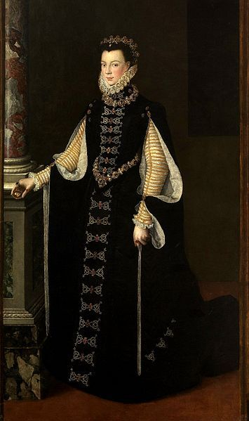 ELISABETH DE VALOIS (1545-1568) - eldest daughter of Henry II of France & Catherine de' Medici. She married Philip II of Spain. Her dress is closed in front at the bottom with FROGS not AGLETS. NO INFO on painter, date painted, location wiki photo: Renaissance Painting, Queen, Floors Length Sleeve, Valoi 1565, De Bright, Black Gowns, Spanish Fashion, Everyday Dresses, File Elizabeth Of Valoi Jpg