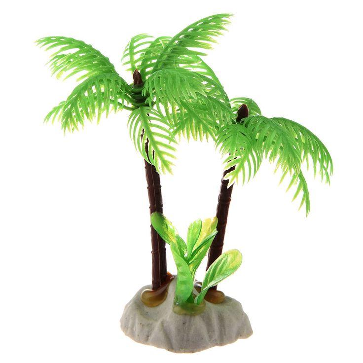 Fish Tank Emulational Mini Coconut Tree Decor w Ceramic Base N3 #Unbranded