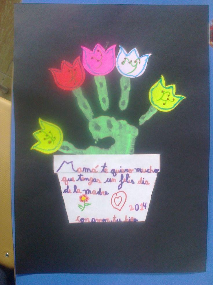 Tarjeta Para El Dia De La Madre Con La Huella De La Mano Del Nino Y Recorte De Tulipanes En La Matera Los Ninos Escriben Su Mensaje Mucha Education