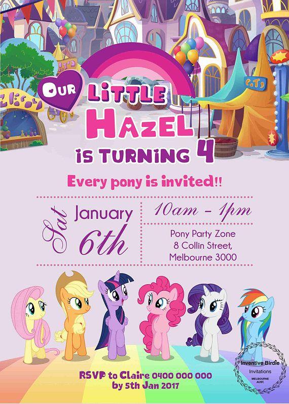 My Little Pony Invitation My Little Pony Birthday Pony Party Fluttershy Rarity Pinkie Pie My Little Pony Invitations My Little Pony Birthday Pony Birthday