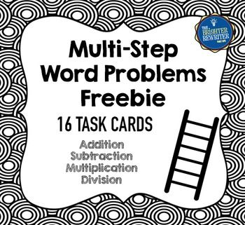 Multiple Step Word Problems Freebie features a total of 16 multi-step word problems task cards, with examples from each set of my two-step and multi-step word problem resources. These word problems are a mix of addition, subtraction, multiplication, and division, all written using whole numbers.