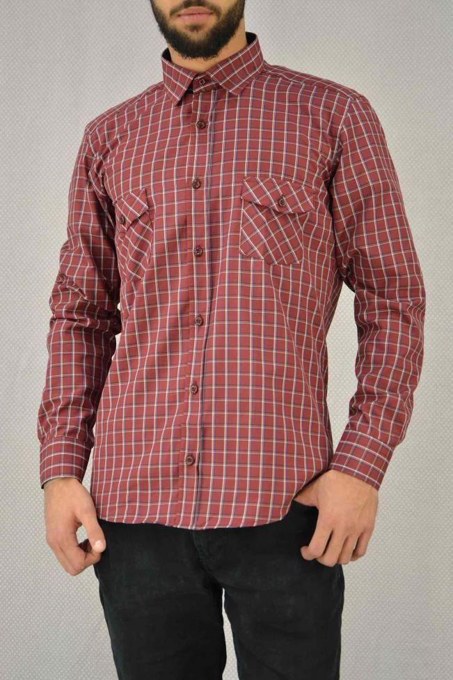 Ανδρικό πουκάμισο καρό με τσέπες  POUK-1658 Πουκάμισα - Άνδρας