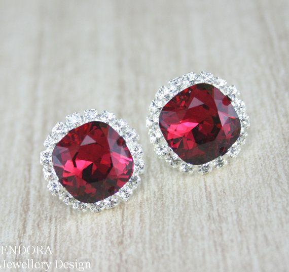 Ruby red earringsRuby stud earringRuby by EndoraJewellery on Etsy, $42.00
