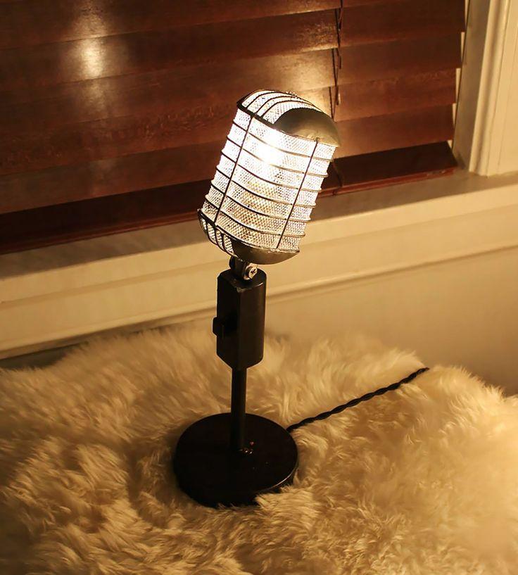 Vintage Microphone Lamp | Karaoke while you work with this vintage microphone lamp. Recy... | Lamps