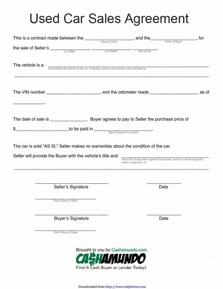 Browse our sample of Vehicle Selling Agreement Template
