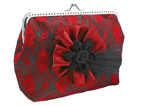 black and red lace handbag frame clutch bag by FashionForWomen