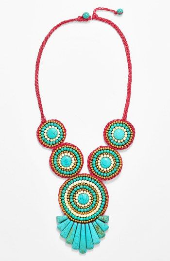 $48, Aquamarine Beaded Necklace: Panacea Crystal Beaded Necklace. Sold by Nordstrom.