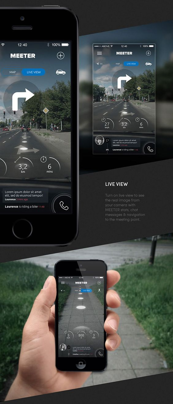 Meeter Heads up Display (HUD) / Augmented Reality Driving and Walking Directions Mobile App Design: