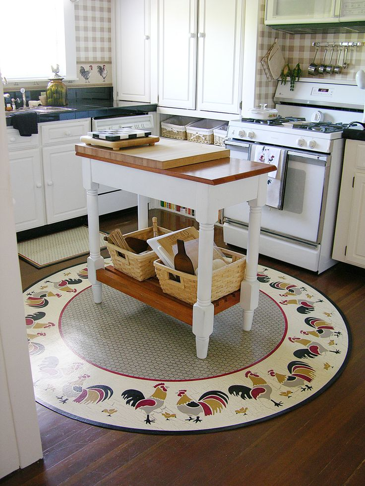 Fun Circular Poultry Hand Painted Floor Mat That Was