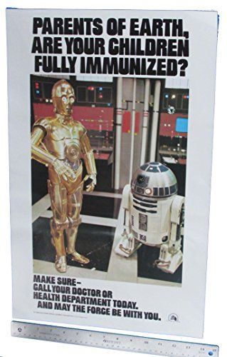 Immunization Poster 1977 Vintage Star Wars C-3PO R2-D2 Original //Price: $14.99 & FREE Shipping //     #starwarslife