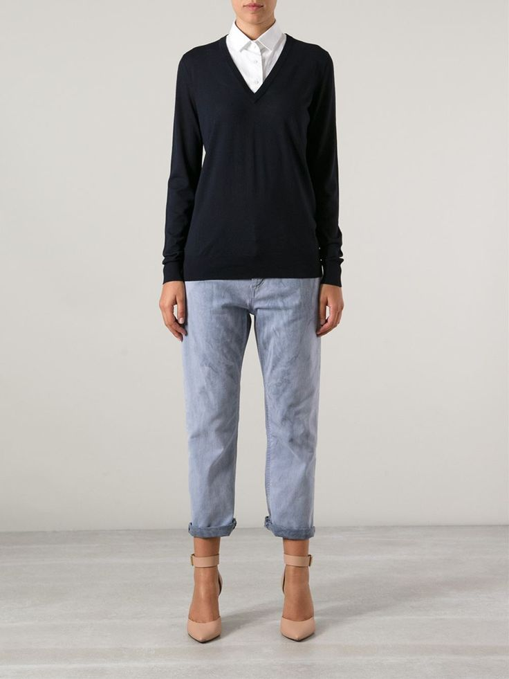 Navy blue merino loose fit sweater from Proenza Schouler