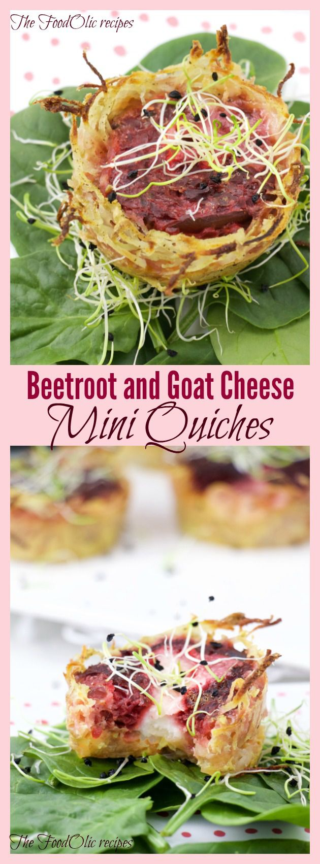 Finger bite beet and goat cheese quiches with a potato base. #snack #quiche #eggs